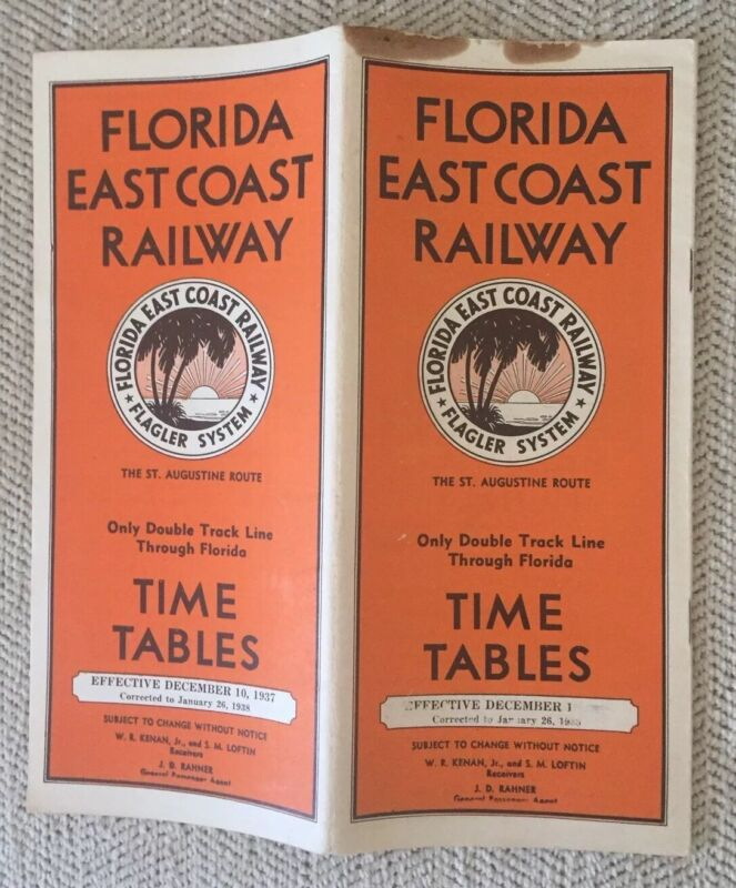 Florida East Coast Railway 12/10/37 (corrected to 1/26/38) Public Timetable