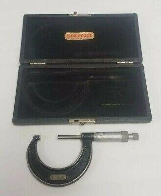 L.s. Starrett No.436 1-2 Outside Micrometer Caliper Ratcheting Thimble W Case