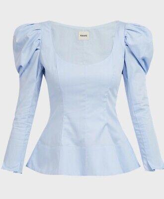 Khaite Light Blue Long Sleeve Cotton-Poplin Blouse.  XS. AW18