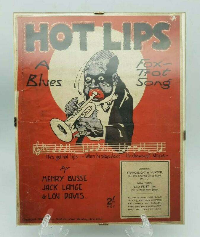 Vintage Hot Lips A Blues Foxtrot Song By Harry Busse Etc 1921 Advertising Poster