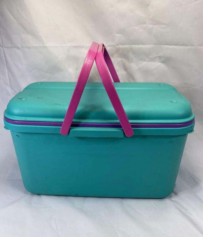 Vtg Eagle Craftstor Sewing Craft Storage Box Top Tray Large Teal Pink USA Made