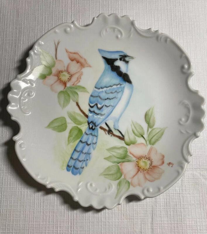 Vintage Blue Jay Birds Porcelain Display Plate Scalloped Rim Colorful Flowers MB