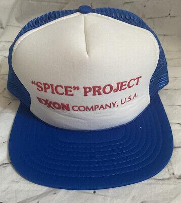 Vintage EXXON MOBIL Oil Snap Back Hat Cap Mesh Back Blue Spice Project