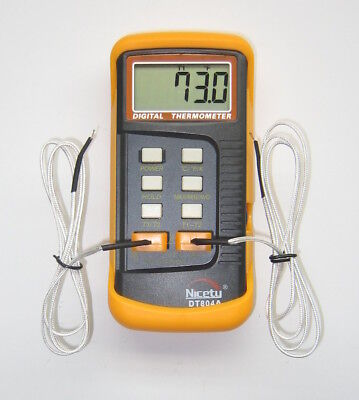 Digital Scientific Dual Sensor K-type Thermocouple Thermometer Two 2 Probe 804a