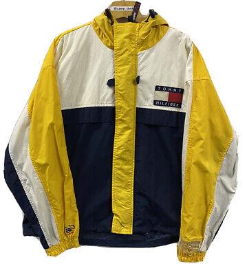 Vintage 90s Tommy Hilfiger Sailing Gear Packable Windbreaker Jacket Yellow Sz L