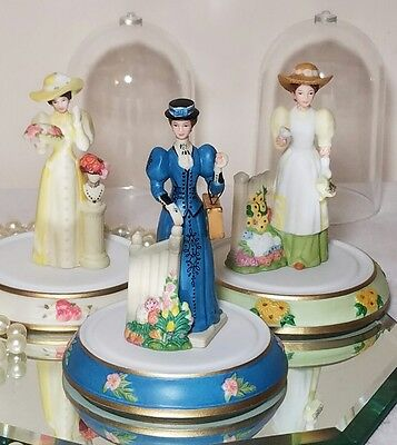 3 AVON Mrs Albee PRESIDENT'S CLUB AWARD miniature figurines with domes