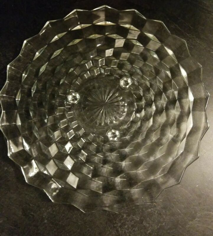 Vintage 3 footed Fostoria American Diamond Clear Round Glass Cake Stand Plate