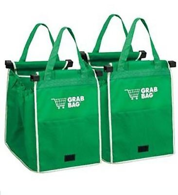 GRAB BAG Clip To Cart Reusable Grocery Shopping Bags 2 Pack