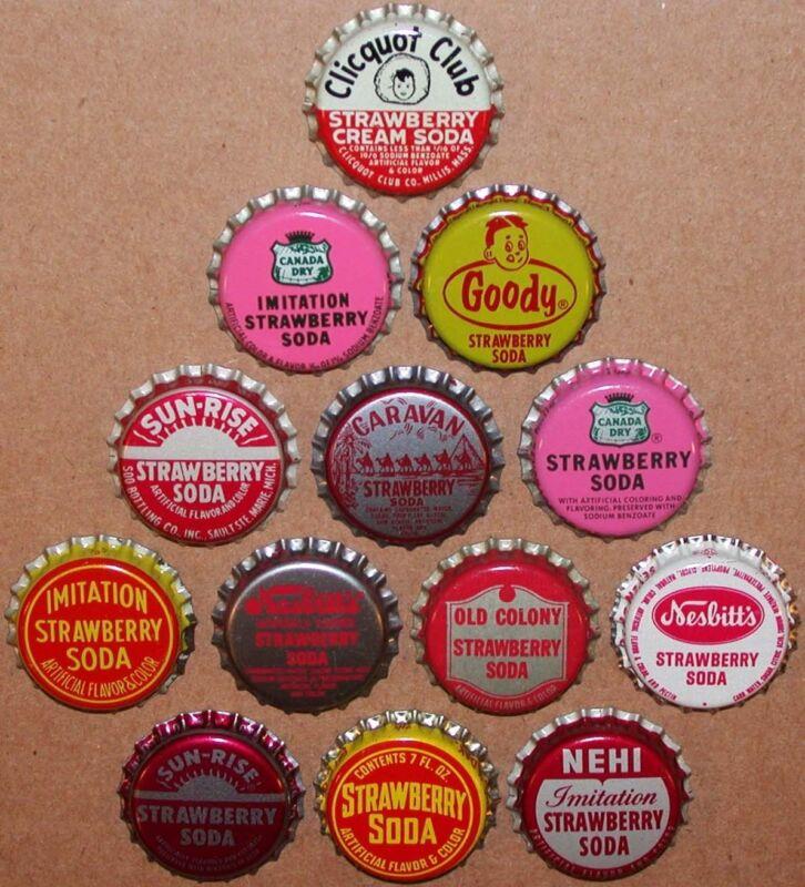 Vintage soda pop bottle caps STRAWBERRY FLAVORS Lot of 13 different unused