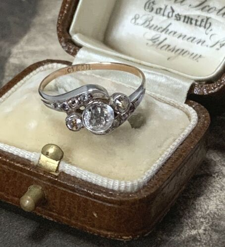 Antique Art Deco 9ct Rose Gold and Silver Paste Ring, Glass Imitating Diamonds