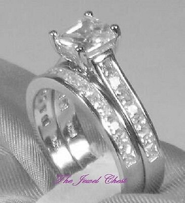 2 Piece Wedding Ring (2.60 Ct Princess Cut 2 Piece Engagement Wedding Ring Band Set White Gold)