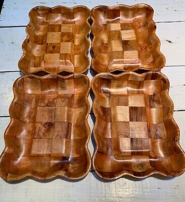 "Scalloped Square Tray (4 Retro Vintage Woven Wooden Tray Checkered Scalloped Edge Square 13-1/2"" Inlaid)"