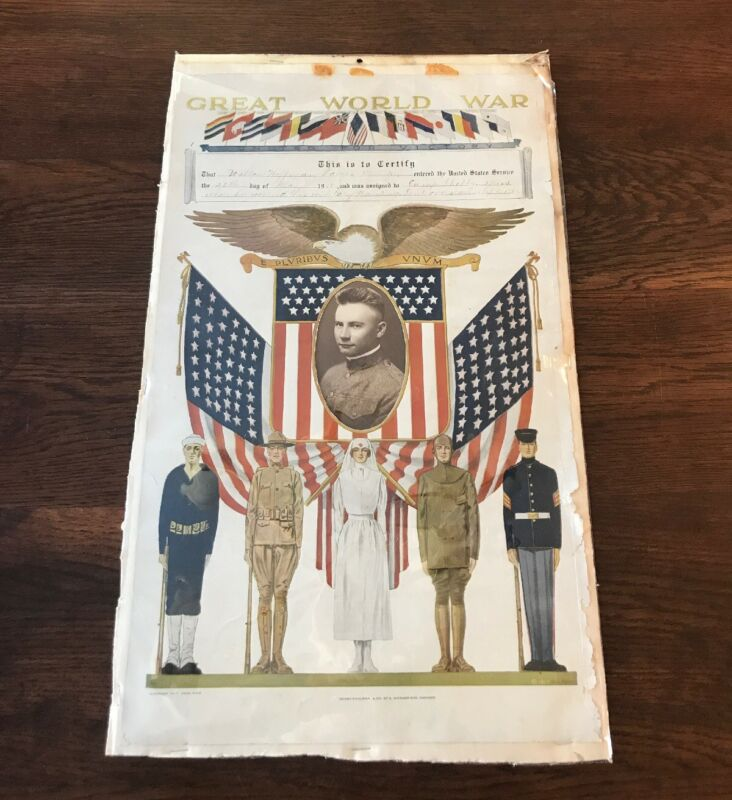 """1918 WW1 """"THE GREAT WAR"""" TRAINING CERTIFICATE VINTAGE 100% AUTHENTIC POSTER"""