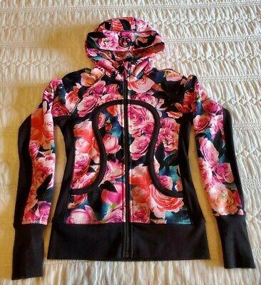 Lululemon Zip Up Hoodie Sz 6 Womens S Floral Flower EUC thumbholes sweatshirt