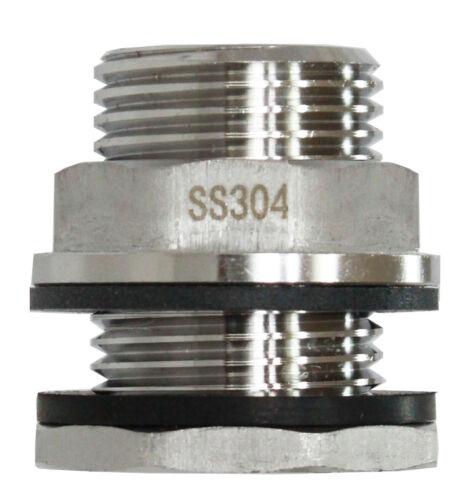 """SSBF020 Stainless Steel Bulkhead Fitting(Female 1/2"""" NPT Male 3/4"""" Garden Hose)"""