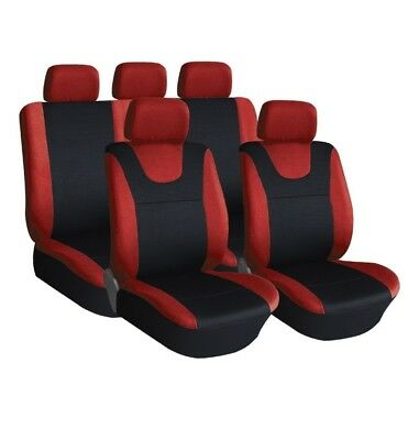 Red and Black..Prestige, Car Seat Covers, Front & Rear: Plush Velour (8 Piece)