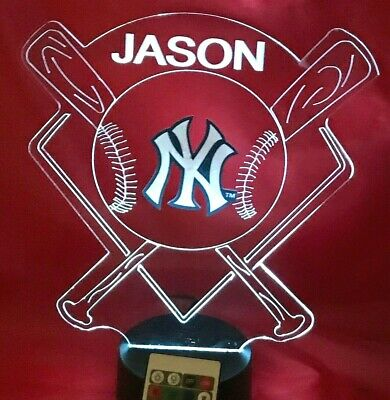New York Yankees Night Light Lamp MLB Baseball Personalized FREE LED Light Up NY New York Yankees Led