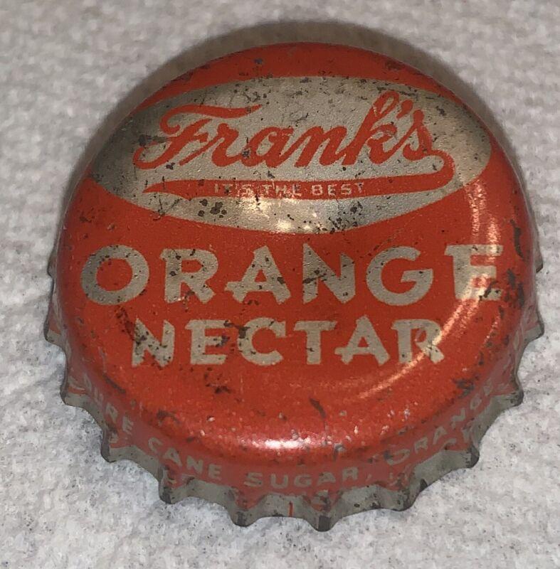 Vintage Franks Soda Philadelphia PA Cork Lined Bottle Cap Crown Orange Nectar