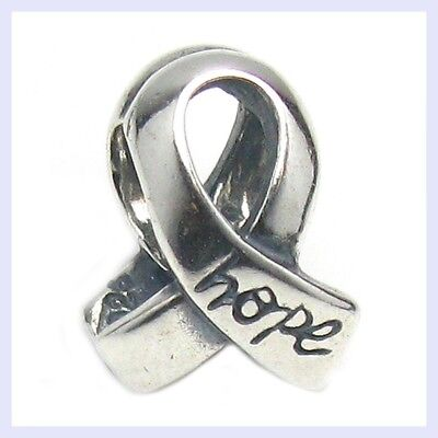 (Sterling Silver Ribbon with Hope Awareness Sign Bead for European Charm Bracelet)