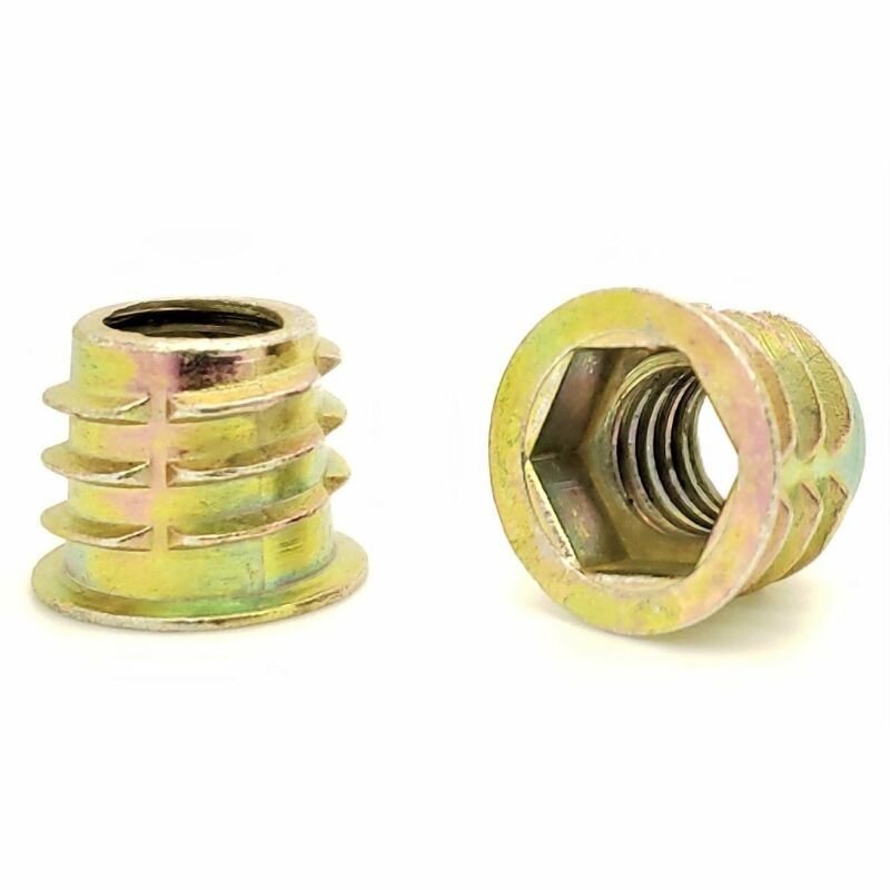 """20 Qty 3/8""""-16 Zinc Hex Flanged Threaded Inserts For Wood 