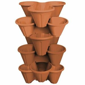 6 x Strawberry Planter Trio Stacking Stackable Outdoor Garden Plastic Plant Pot