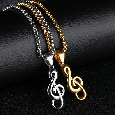 Mens Women Stainless Steel Music Note Pendant Gold Silver Necklace Rolo Chain Gold Music Note
