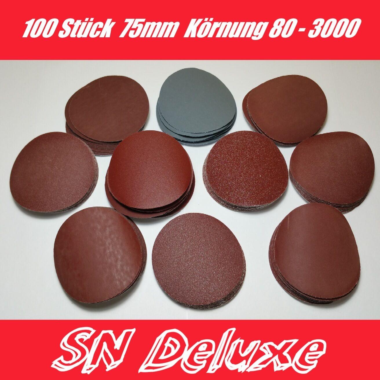 100X Schleifscheiben klett Set 75mm 80-3000er Körnung Schleifpapier Lack Dremel