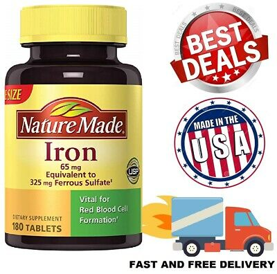 IRON SUPPLEMENT 65mg Body Health Red Blood Cell Formation Dietary 180 Tablets