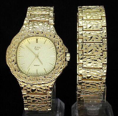 Mens Nugget Design Square Face Watch & Bracelet Set 14k Gold Plated Hip Hop