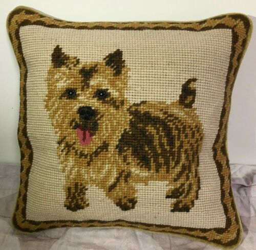"""Brand New Norfolk Terrier 100% Wool Petite Needlepoint Pillow 10"""" Square"""