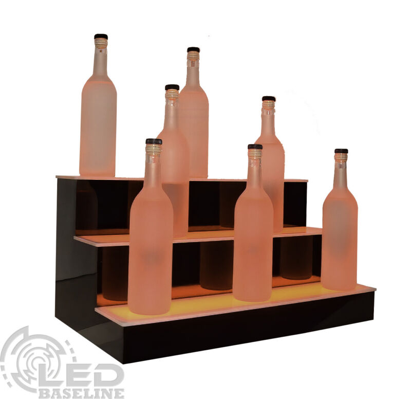 "24"" LED BOTTLE RACK BAR SHELF, 3 Step Home Bar Glass Display Shelving Rack"