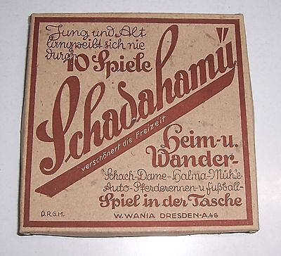 Schadahamü Taschenspiel W.Wania Dresden um 1940/50 DRGM Auto Brettspiele !