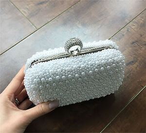 Brand New Silver Pearl Bridal Clutch