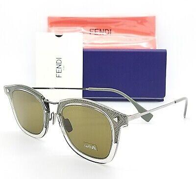 New Fendi sunglasses FF M0045/S 03U5 47mm Grey Silver Green Grey AUTHENTIC Metal