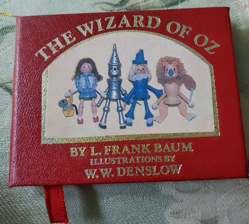 "Vintage 1984 Wizard of Oz 3"" Mini Book Christmas Ornament Kurt Adler Denslow Art"
