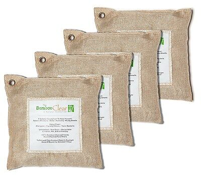Bamboo Clear Charcoal Deodorizer Natural Air Purifying Bags - 4 x 500 grams