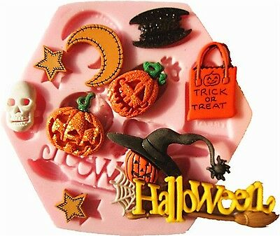 SILIKON 3D BACKFORM HALLOWEEN 2 FONDANT TORTE AUSSTECHFORM DEKO MARZIPAN PARTY - Marzipan Halloween