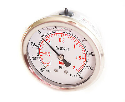 - Compound Pressure Vacuum Gauge Glycerine Filled 63mm Back -1+2 Bar 30*Hg+30 PSI