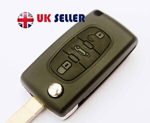 Peugeot 207 307 407 308 607 3 Button FOB Remote Key  CASE Uncut Blade