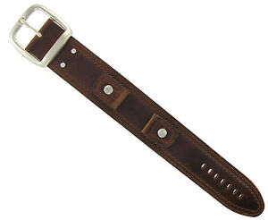 18mm Extra Wide Military Style Cuff Genuine Leather Brown Watch Band Strap