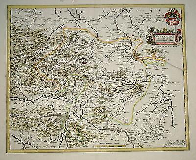 Mansfeld Eisleben Bernburg Sachsen-Anhalt seltene Landkarte  Kupferstich 1640