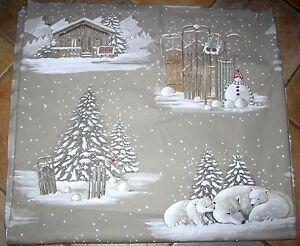 tr s beau coupon tissu montagne sapin ours blancs luges chalet th venon ebay. Black Bedroom Furniture Sets. Home Design Ideas