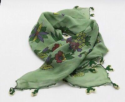 Vintage Scarf Styles -1920s to 1960s Vintage Green Floral Scarf Crochet Trim $14.00 AT vintagedancer.com