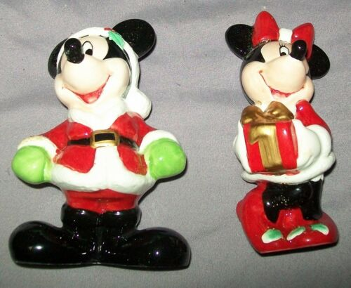 Disney Holiday Collection Salt & Pepper Shakers Mickey & Minnie Mouse Christmas