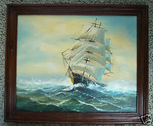 TALL SHIP FULL SAIL STORMY SEA VINTAGE ORIGINAL OIL FRAMED signed MARTIN 24x20