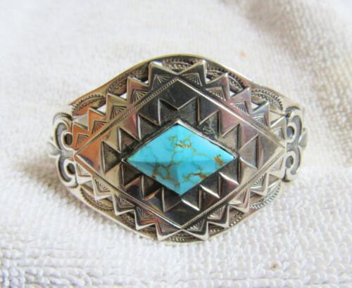 Sterling Silver Battle Mountain Turquoise Navajo Indian Bracelet Fred Harvey Era