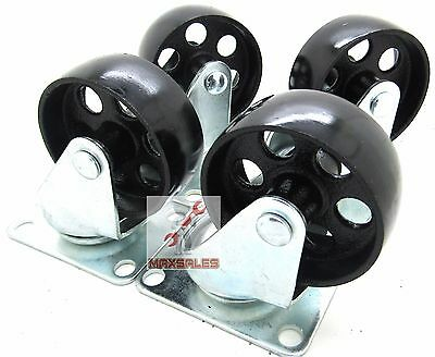 New 4 Pc 3 Steel Metal Wheel Casters Top Plateswivel Caster Heavy Duty