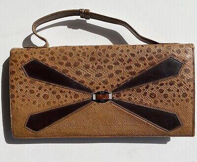 1940s Handbags and Purses History Vintage 1940s Lizard Handbag Small Clutch Handle Purse Brown Sterling Silver $70.53 AT vintagedancer.com