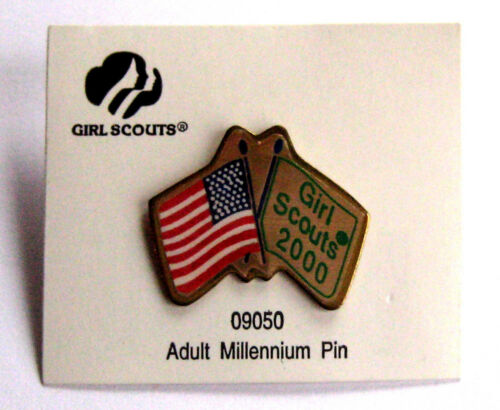 Girl Scout Year 2000 ADULT MILLENNIUM FRIENDSHIP PIN Crossed Flags International