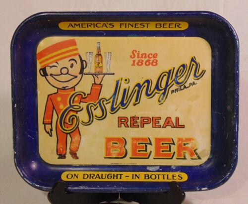 Rare Esslingers Repeal Ale Beer Tin Tray Sign Advertising Rectangle Philadelphia